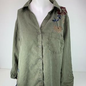 style & co army green long sleeve button front top